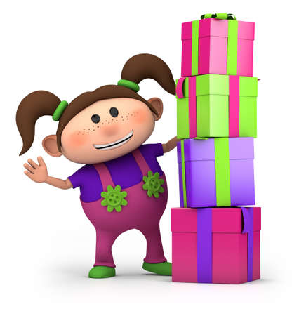 pigtails: cute cartoon girl waving from behind pile of presents- high quality 3d illustration