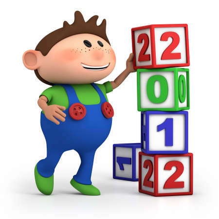 cute cartoon boy stacking 2012 number blocks - high quality 3d illustration illustration