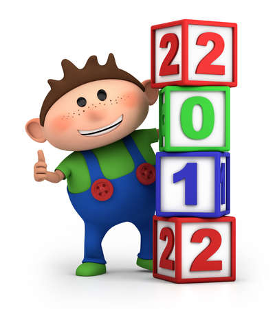 bib overall: cute cartoon boy giving thumbs up from behind 2012 number blocks - high quality 3d illustration Stock Photo