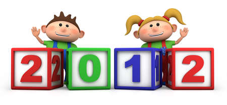cute cartoon boy and girl with 2012 number blocks - high quality 3d illustration