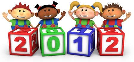 four cute multi-ethnic cartoon kids with 2012 number blocks - high quality 3d illustration 版權商用圖片