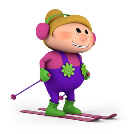 cute little cartoon girl skiing - high quality 3d illustration illustration