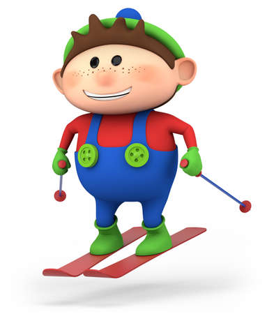 cute little cartoon boy skiing - high quality 3d illustration illustration