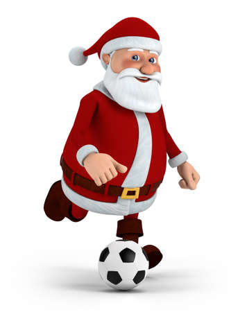 father christmas: cute cartoon santa claus playing soccer - high quality 3d illustration