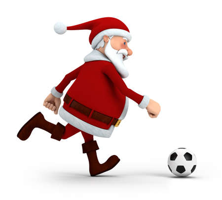 pere noel: mignonne Santa Claus � jouer au football - 3d illustration haute qualit�