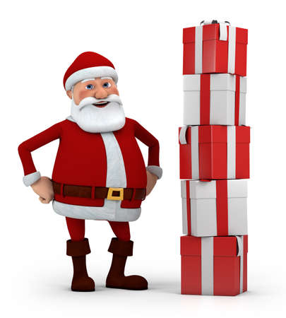 cute cartoon santa claus standing next to a stack of presents - high quality 3d illustration