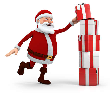 cute cartoon santa claus stacking presents - high quality 3d illustration