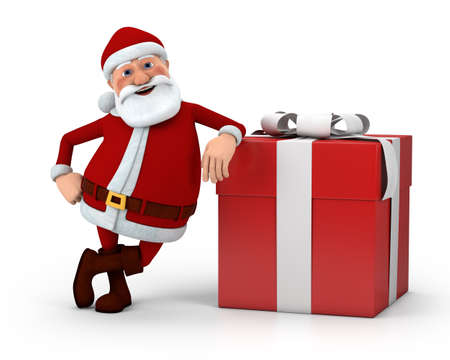 cute cartoon Santa Claus leaning against present - high quality 3d illustration Stock Photo