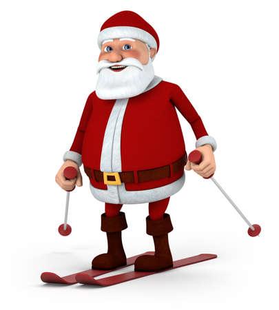 cute cartoon Santa Claus skiing - high quality 3d illustration