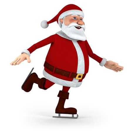 patinaje sobre hielo: Cute Santa Claus piojos patinaje - 3d ilustraci�n de alta calidad Foto de archivo