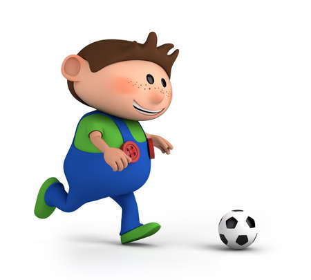 freckles: cute little boy playing soccer - high quality 3d illustration  Stock Photo
