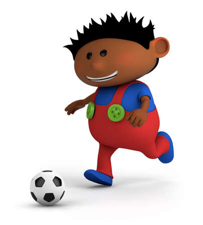multi colored: cute little dark-skinned boy playing soccer - high quality 3d illustration Stock Photo