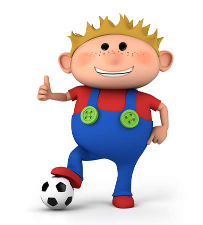 cute little boy with soccer ball giving thumbs up - high quality 3d illustration  Stock Photo