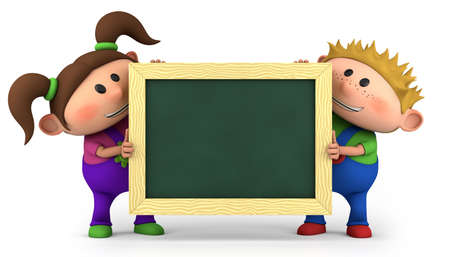 brown haired girl: cute kids holding a blank chalkboard - high quality 3d illustration  Stock Photo