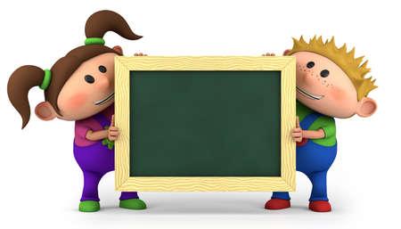 cute kids holding a blank chalkboard - high quality 3d illustration 版權商用圖片 - 12119282