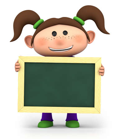 first day of school: cute girl holding a blank chalkboard - high quality 3d illustration