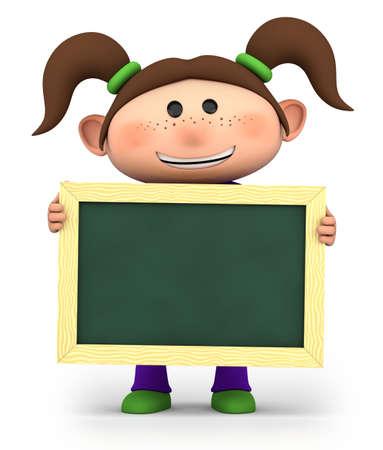 cute girl holding a blank chalkboard - high quality 3d illustration