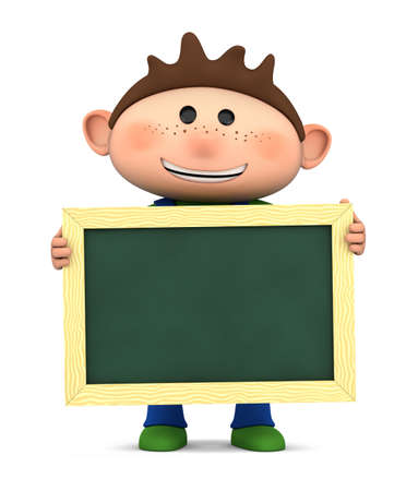 brown haired: cute boy holding a blank chalkboard - high quality 3d illustration