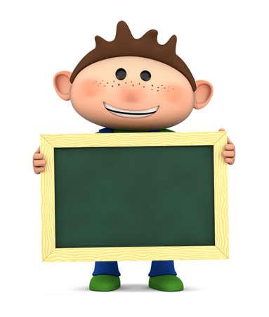 niños sosteniendo un cartel: lindo niño sosteniendo una pizarra en blanco - Ilustración 3D de alta calidad
