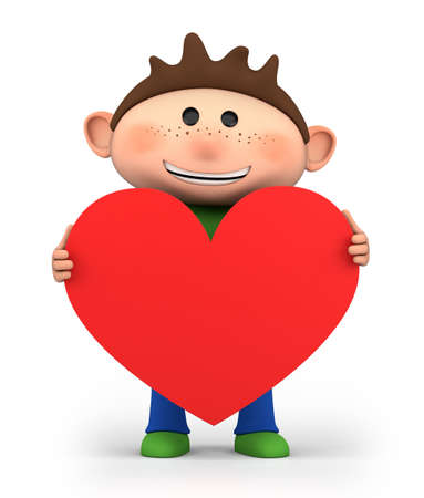 cute little boy holding a red heart - high quality 3d illustration Stock Photo
