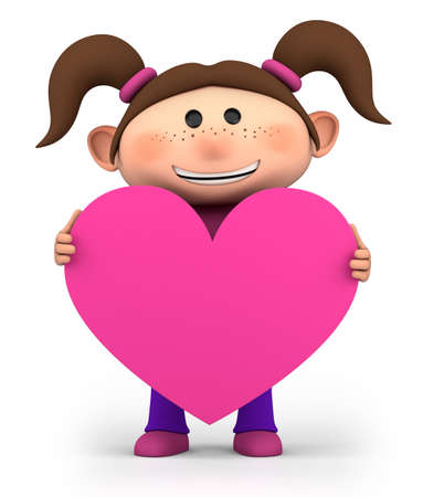 brown haired girl: cute little girl holding a pink heart - high quality 3d illustration  Stock Photo