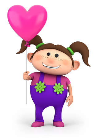 brown haired: cute little girl with heart-shaped balloon - high quality 3d illustration