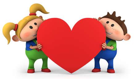 귀여운 작은 소년과 소녀 붉은 마음을 잡고 - 높은 품질의 3d 일러스트