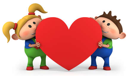 child holding sign: cute little boy and girl holding a red heart - high quality 3d illustration Stock Photo