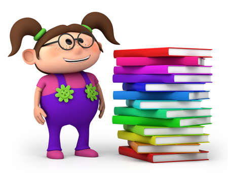 brown haired girl: cute little girl with stack of books - high quality 3d illustration