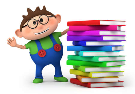 cute little boy waving from behind a stack of books - high quality 3d illustration Фото со стока