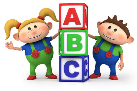 kids abc: cute boy and girl with ABC blocks