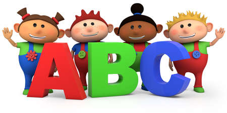 first day of school: cute multi-ethnic kids with ABC letters - high quality 3d illustration