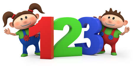 cute boy and girl with 123 numbers