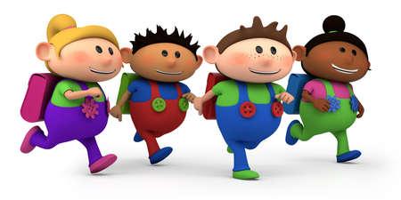 cartoon school girl: lindo multi�tnicas ni�os corriendo
