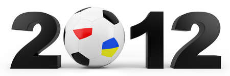 black year 2012 numbers with EURO 2012 soccer ball - high quality 3d illustration