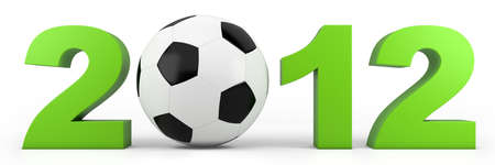 uefa: green year 2012 numbers with soccer ball