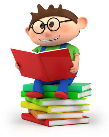 kids reading: cute little cartoon boy sitting on books reading - high quality 3d illustration