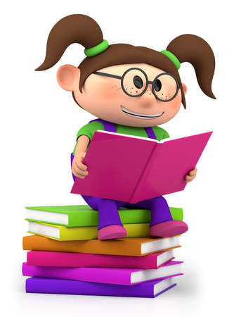 reading glass: cute little cartoon girl sitting on books reading - high quality 3d illustration