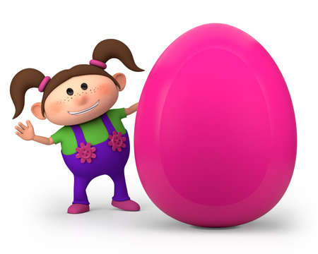 brown egg: cute little cartoon girl with big easter egg - high quality 3d illustration