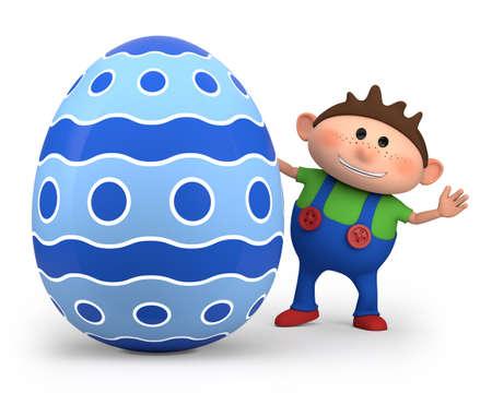 cute little cartoon boy with big easter egg - high quality 3d illustration