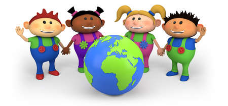 multiethnic: cute multi-ethnic kids with globe - high quality 3d illustration Stock Photo