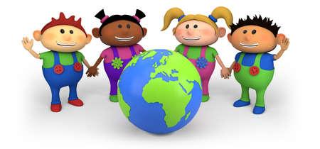 multicultureel: leuke multi-etnische kinderen met globe - hoge kwaliteit 3D-afbeelding Stockfoto