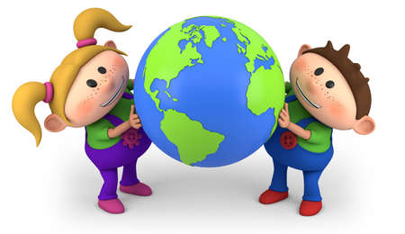 cute cartoon boy and girl holding a globe - high quality 3d illustration illustration