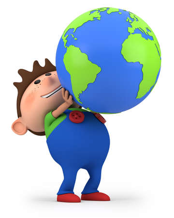 human geography: cute little cartoon boy holding a globe - high quality 3d illustration Stock Photo