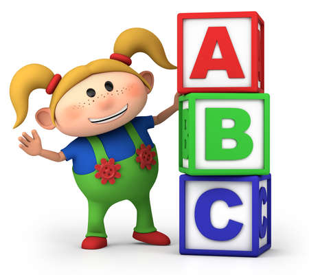 kids abc: cute little cartoon girl with stack of ABC blocks - high quality 3d illustration