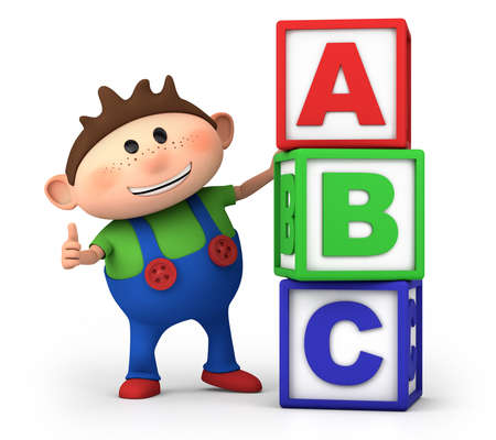 cute little cartoon boy with stack of ABC blocks - high quality 3d illustration