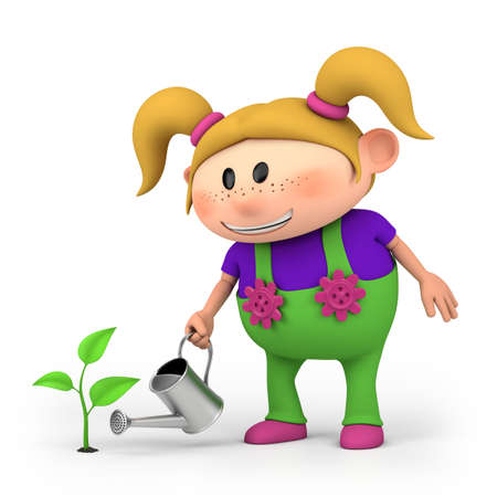 pigtails: cute little cartoon girl watering a sprout - high quality 3d illustration