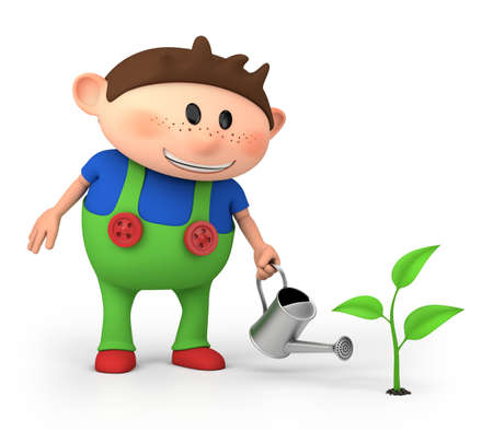 gardener: cute little cartoon boy watering sprout - high quality 3d illustration