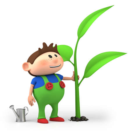 plants growing: cute little cartoon boy watering sprout - high quality 3d illustration
