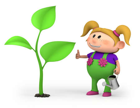 cute little cartoon girl with a large sprout - high quality 3d illustration illustration